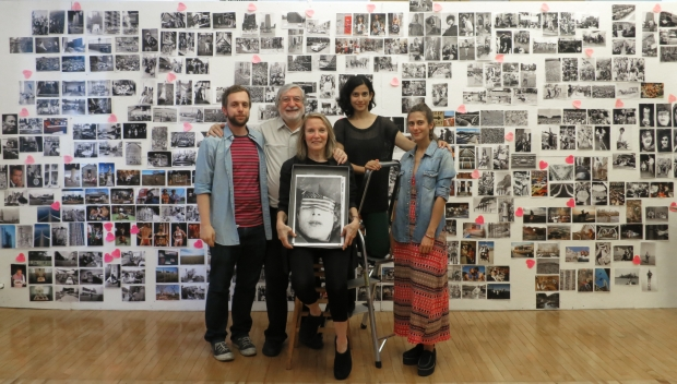 June 22, 2013. New York City, NY. Jean-Pierre Laffont studio, from left to right: Alessandro Ghirelli, JP and Eliane Laffont, Asmita Parelkar and Carolina Patlis. Eliane is holding a potential cover for the coming book 'Photographer's Paradise', and at this date, the cover was not chosen yet. On the wall behind them are all the selected images for the book.