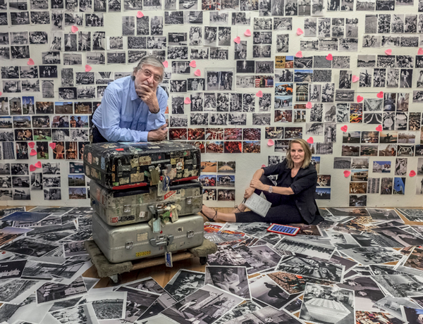 Manhattan, New York, June 2013. Jean-Pierre and Eliane Laffont in their studio editing the photographs for the book 'Photographer's Paradise'. The suitcase travelled around the world with Jean-Pierre Laffont. Photo by Sam Matamoros.
